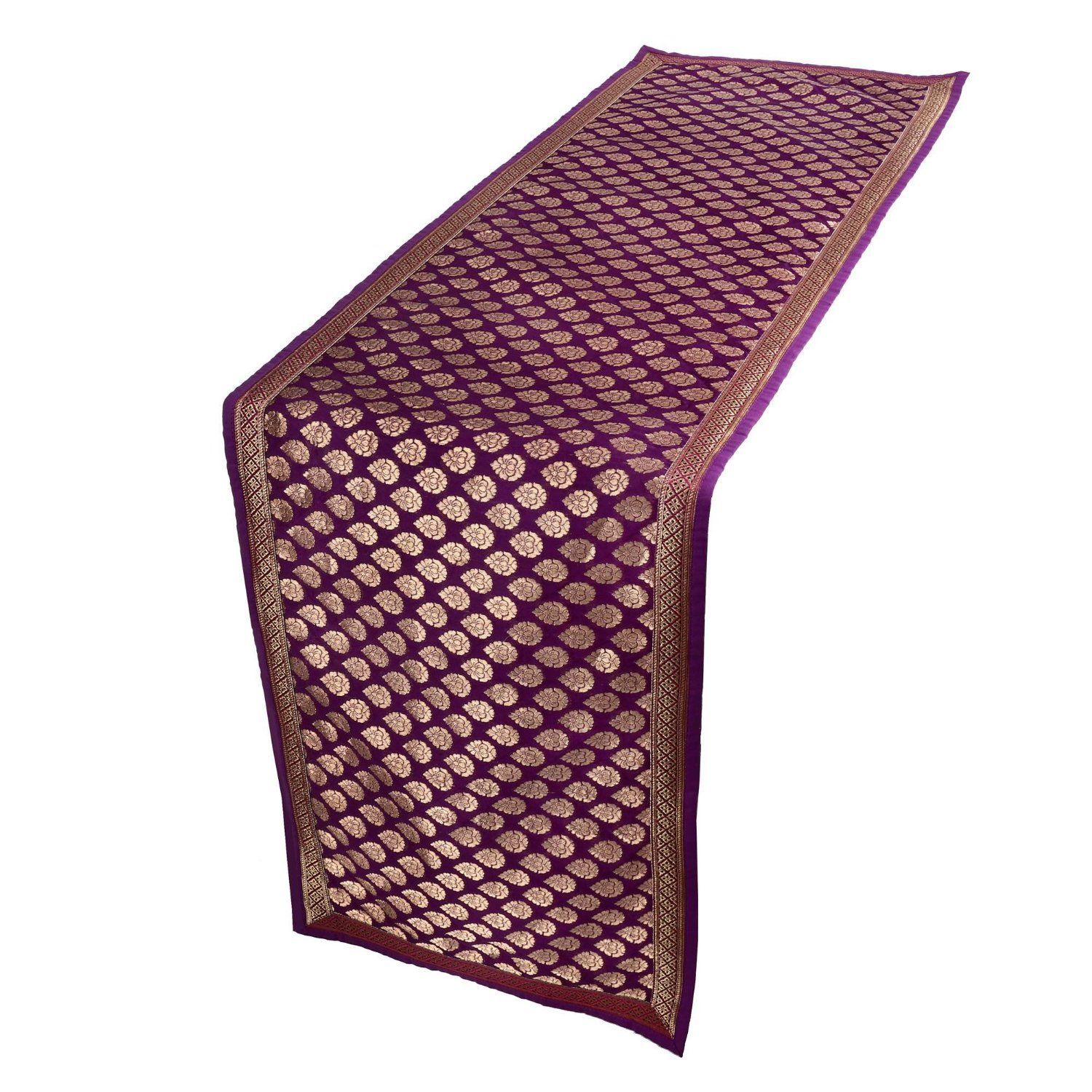 Brocade Silk Purple And Gold Table Runner Home Décor Indian: Amazon.co.uk