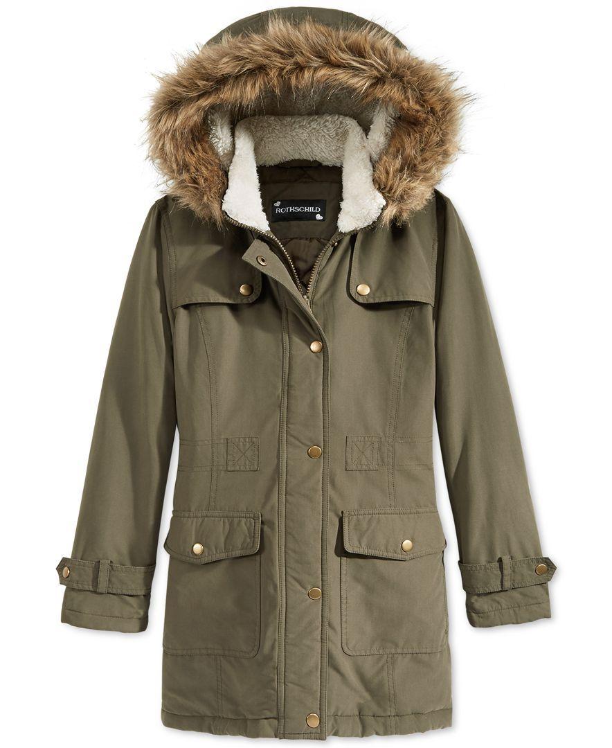 ef7a03d5d S. Rothschild Girls  Stadium Jacket with Faux Fur Hood Trim ...