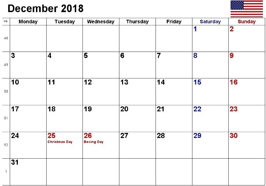 December 2019 Us Calendar With Holidays December 2018 Calendar With US Holidays | December 2018 Calendar