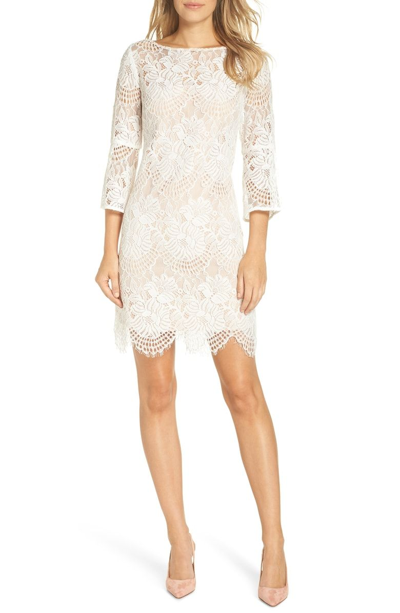 Free Shipping And Returns On Vince Camuto Lace Shift Dress At Nordstrom Com Romantic Charm Defines This Femi Lace Shift Dress Shift Dress Little White Dresses [ 1196 x 780 Pixel ]