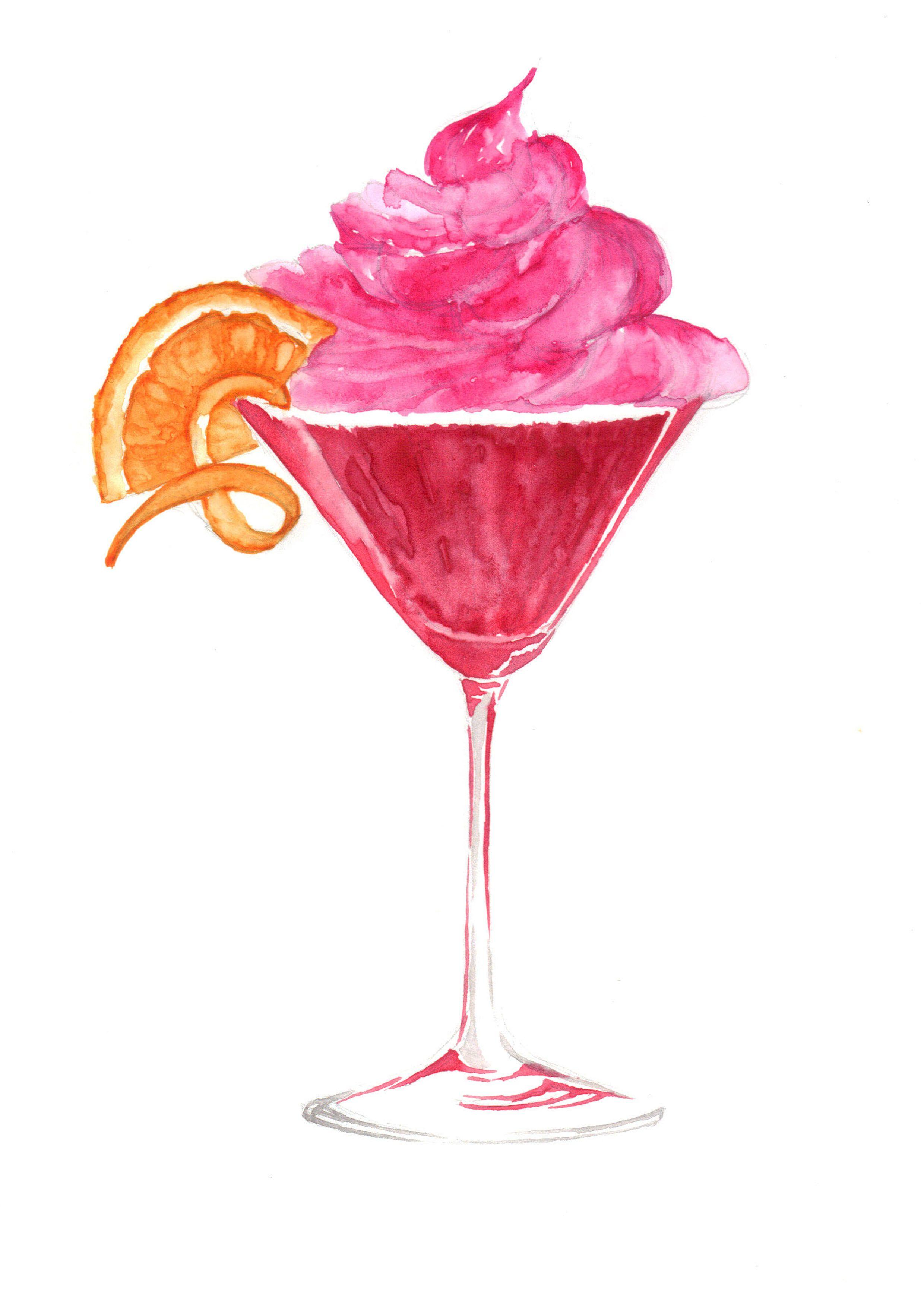Cosmopolitan Cocktail Cupcake Watercolour. http://www.claireelizabethartwork.com/