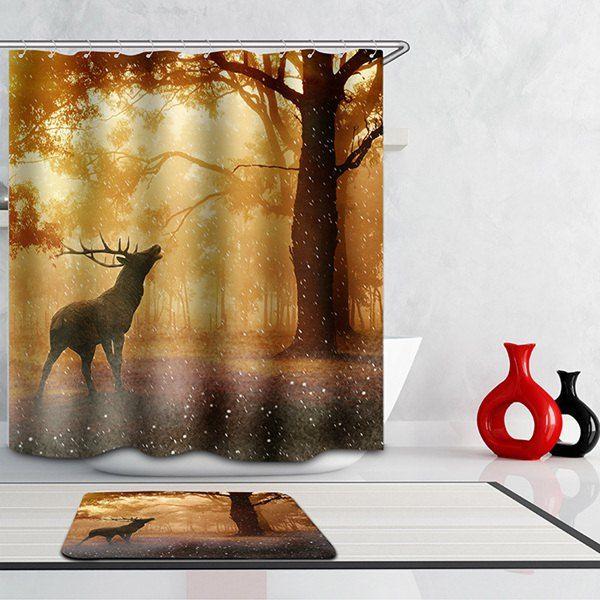 Mouldproof Waterproof Elk Printed Bathroom Shower Curtain