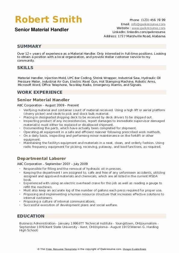 fedex package handler job description resume fresh