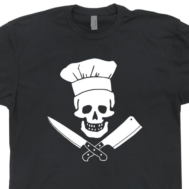 Chef Skull T Shirts Grill Master Tee Diet Culinary Grilling BBQ Apron  Cooking Pants Hat Tee Mens Womens Kids Shirtmandude: Chef T Shirt Skull  Grill Master ...