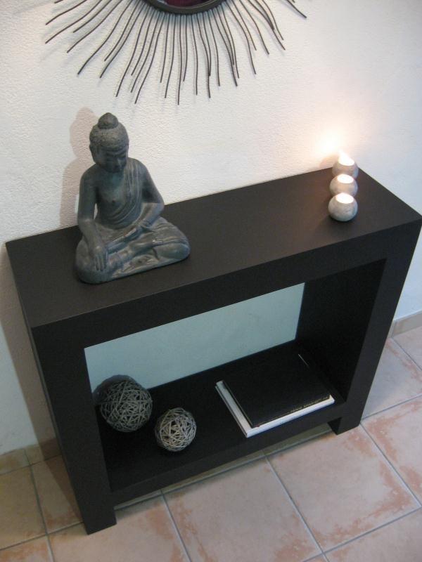 Table console noire en carton - Création Meuble en carton de www