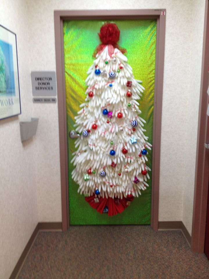 Christmas door decor for nurses made from surgical gloves and  biohazard bag tree skirt also rh pinterest