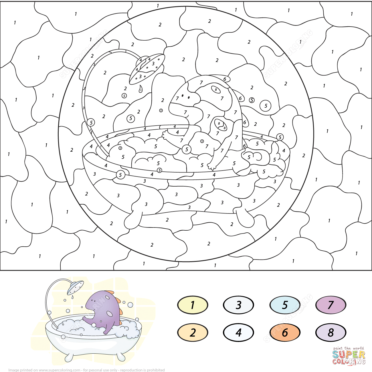 Dragon With Snowball Color By Number Coloring Page