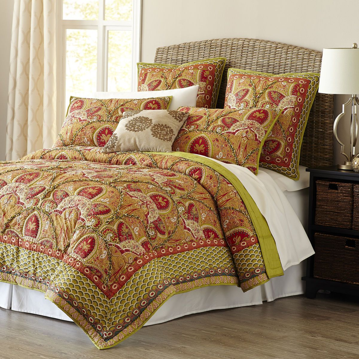 shams pillows pin cotton w set paisley floral quilts king quilt