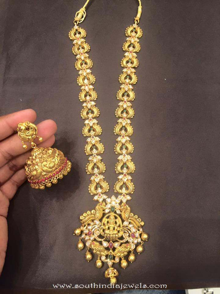 Gold Antique Long Necklace wwith Jhumki | Traditional Jwellery ...