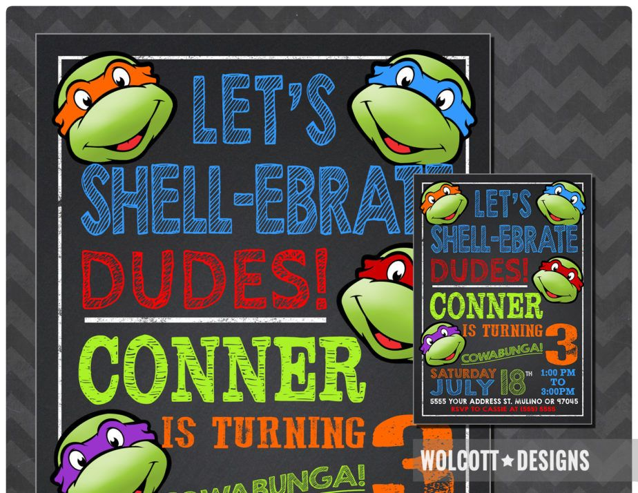 Ninja Turtle Birthday Invitations TMNT Custom Personalized Printable Or Printed Invites Wolcottdesigns