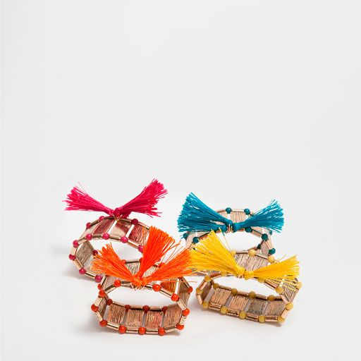COLOURFUL STRIPED METAL NAPKIN RING (SET OF 4)