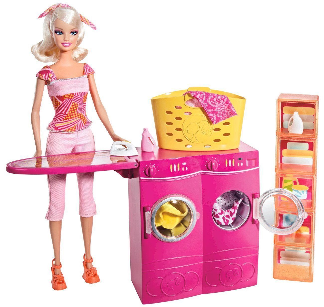Amazon com barbie spin to clean laundry room and barbie doll set toys