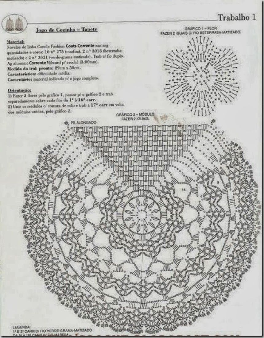 Artesanatos em Crochê Vanda: TRILHO PARA MESA COM 5 ROSAS E GRÁFICO
