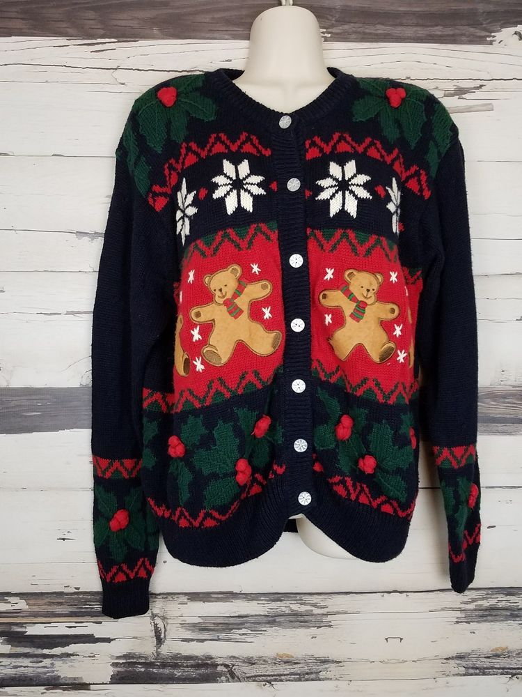 c462857f64 Petite Sophisticate Ugly Christmas Sweater Cardiagan Teddy Bear Holly Pom  Poms