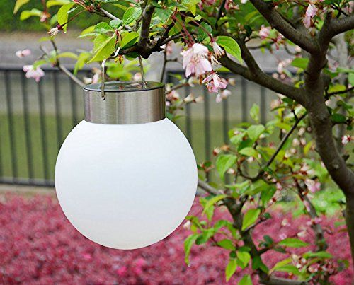 $11.79 - RioRand Outdoor Solar Lights Garden Lights Waterproof Led Spherical Hanging Lamp Night Light Stainless Steel Garden Chandelier(White) - http://bit.ly/2aZGFv4 - Suitable courtyard villas, gardens, corridors and public places such units Powered by RioRand advanced technology Outdoor camping essential supplies, designed to facilitate the chandelier lighting