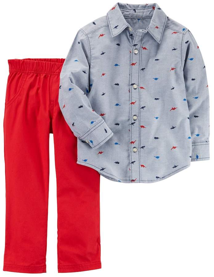 d4572a976 Carter's Baby Boy Chambray Dinosaur Shirt & Pants Set | Products ...
