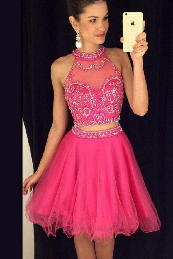 Two Piece High Neck Homecoming Dress,Short Beaded Homecoming | Short ...