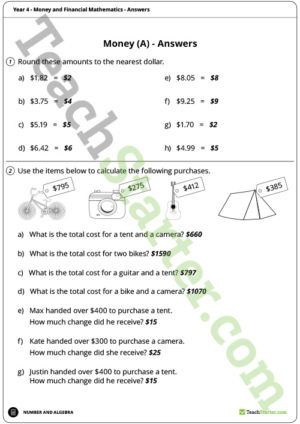 Money And Financial Mathematics Worksheets Year 4 Mathematics Worksheets Teaching Resources Worksheets