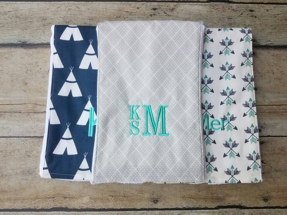 1dc8236ce5e20 Modern Burp Cloth, Monogrammed Boy Burp Cloth, Baby Gift Set of 3 ...