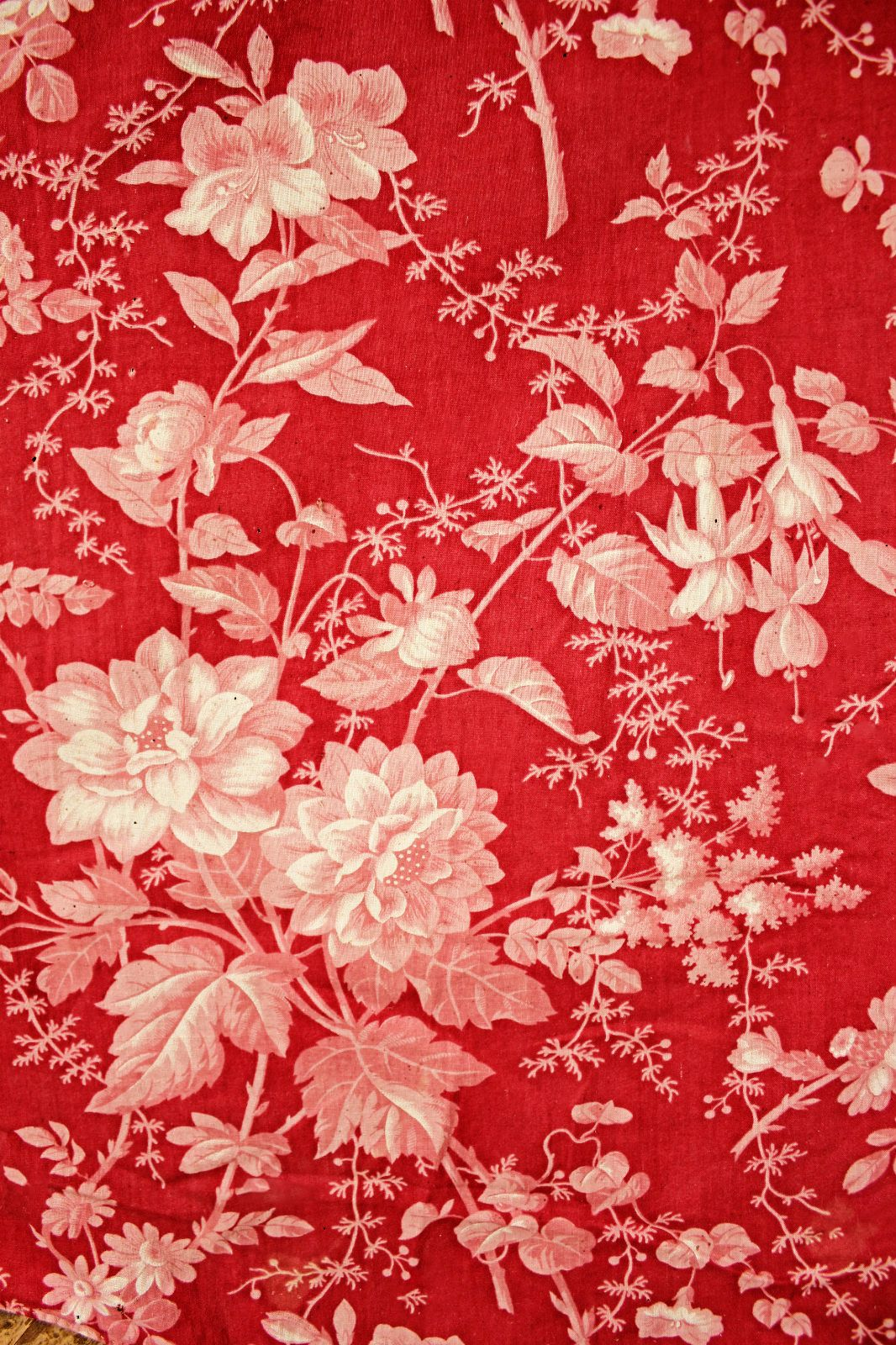 Antique French Textile ca. 1860 | ReD, WhITe AnD CreAm ...
