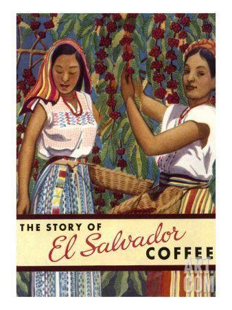 El Salvador Coffee, Pickers Art Print #elsalvadorfood