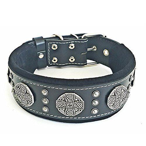 "Bestia /""Bijou/"" dog collar 2 inch wide Studded Soft padded"