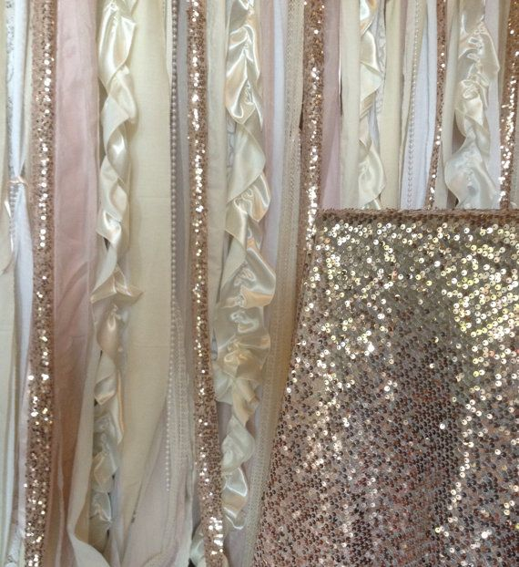 Sequin Wedding Garland Pink Blush Ivory White Fabric Party Garland ...