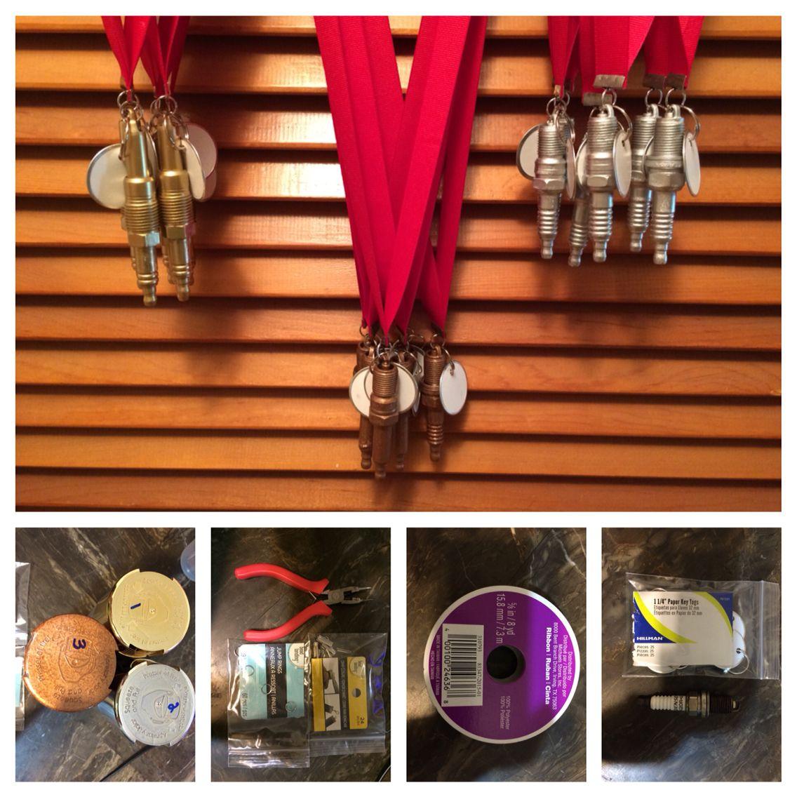 Spark plug pinewood derby awards! 1:Gold, silver & Bronze spray ...