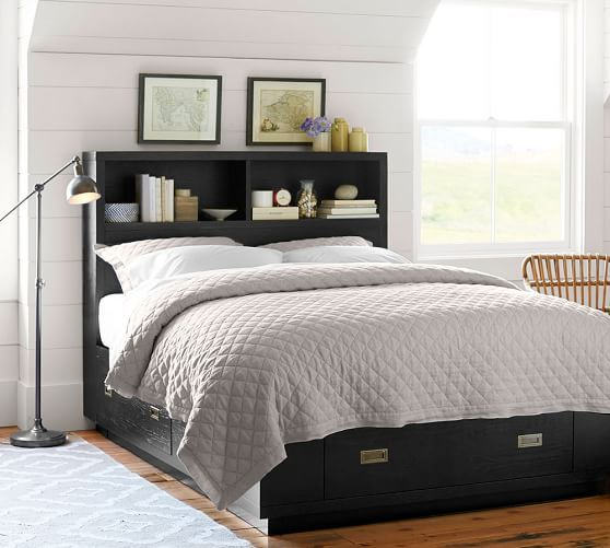 Best Queen Reynolds Storage Platform Bed Headboard Pottery 400 x 300