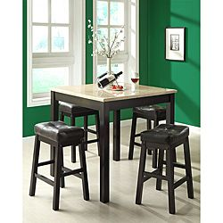 @Overstock.com   Cappuccino/Beige Faux Marble 5 Piece Counter Dining Set