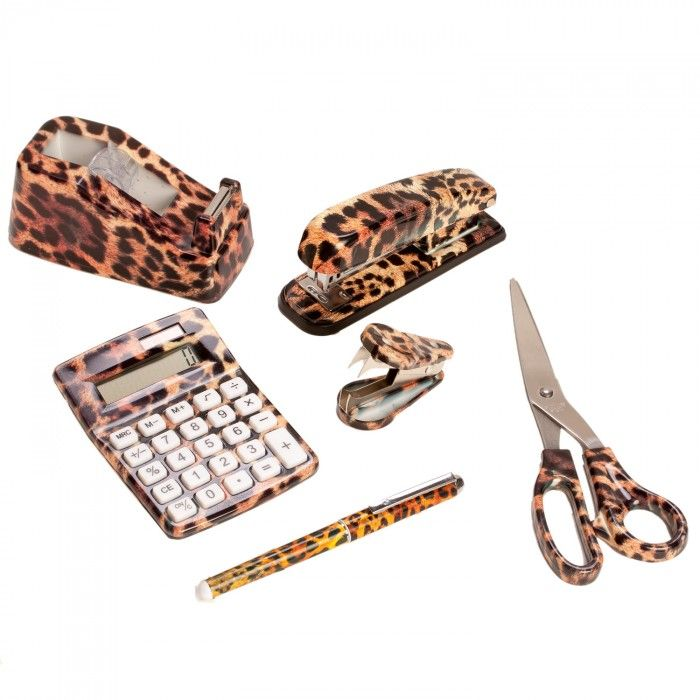 6 Set Wild Safari Animal Print Office Desk Supply Kit