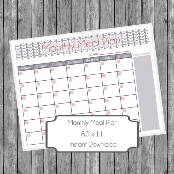 Monthly Meal Planner Printable Spring Butterflies Grey Meal