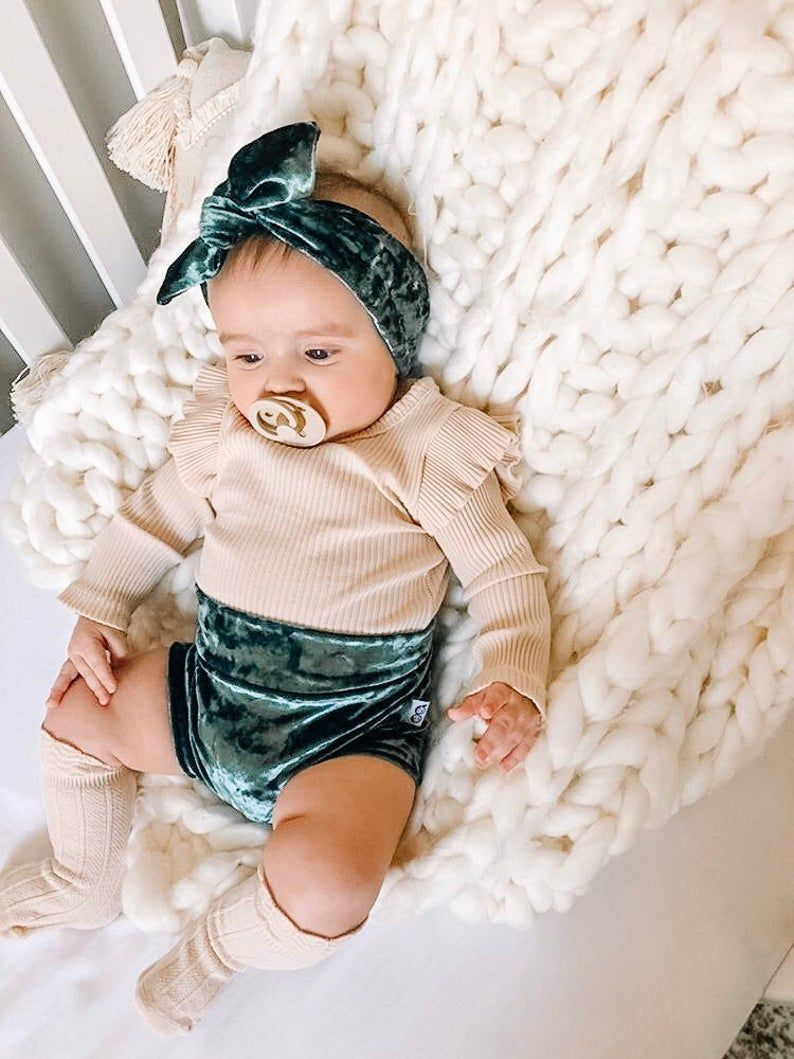 Green Velvet Bummy and Top Knot Headband Set, Baby