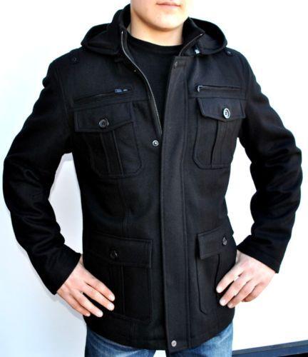 New Mens Guess Wool Coat Jacket Peacoat Black Hooded Detachable ...