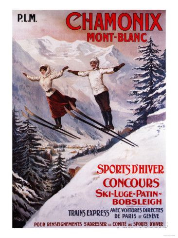 Chamonix Mont-Blanc, France - Skiing Promotional Poster Affiches sur AllPosters.fr