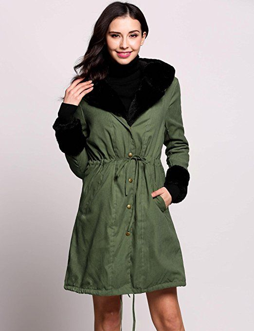 buy online 32e69 6d6f8 cooshional Damen Mantel Lang Winterjacke Fell Wintermantel ...