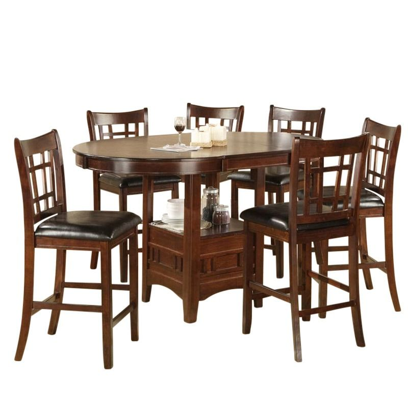 Fit The Whole Family At The Mission 7 Piece Counter Height Dining Mesmerizing Black And Brown Dining Room Sets Review