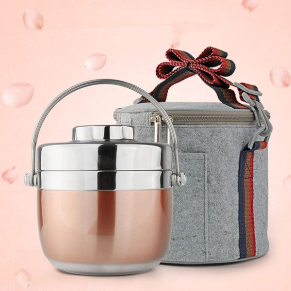 Rose Gold Stainless Steel Bento Lunch Box with Carrying Case. Perfect for prepping meals and
