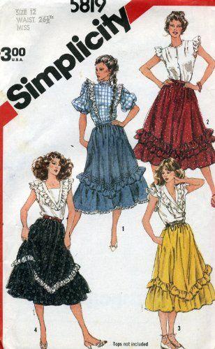 Vintage 1982 Simplicity Western Dance Skirt Sewing Pattern 5819