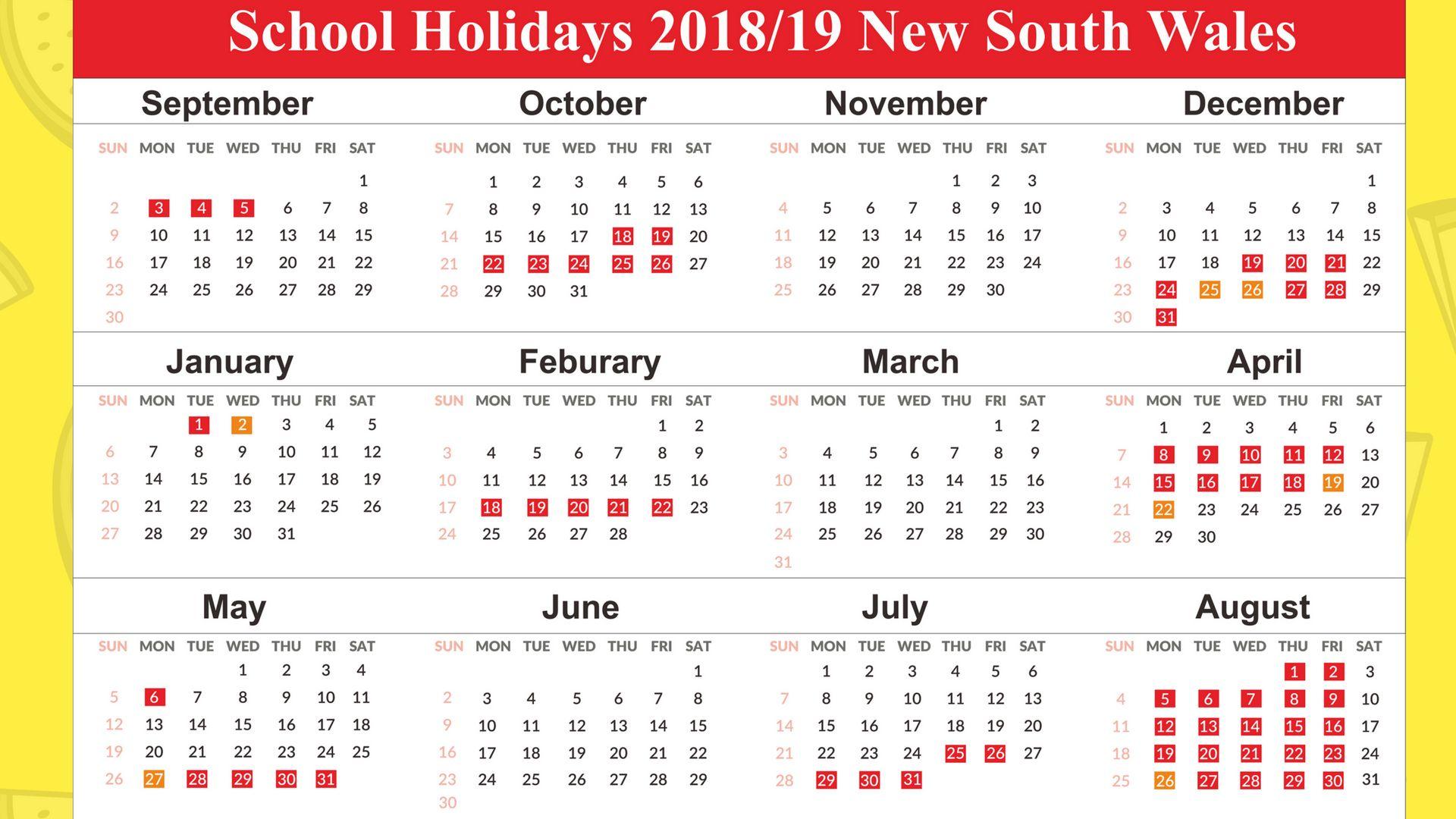 2018 Calendar Nsw School Holidays Calendar Holidays School Holiday Calendar Printable School Holiday Calendar Holiday Calendar