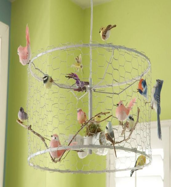 Make a charming shabby bird chandelier tutorial and 45 best shabby im not normally one for birdinspired decor but every once in awhile i could shake things up right wrap chicken wire around the ribs of a lampshade greentooth Images