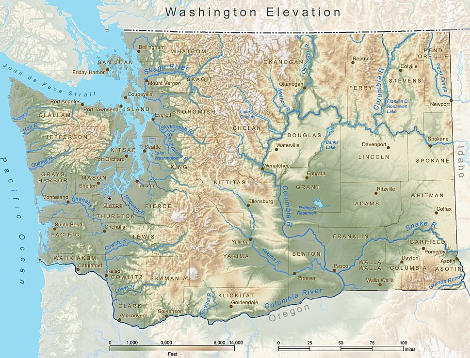 Washington State Elevation Map Credit Esri Principles Of - Ground elevation map