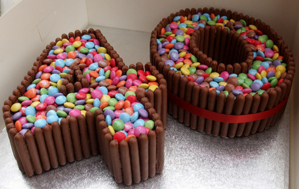 Number Cake Kit Kats Or Cadbury Fingers Around The Edge Filled With Smarties Mms