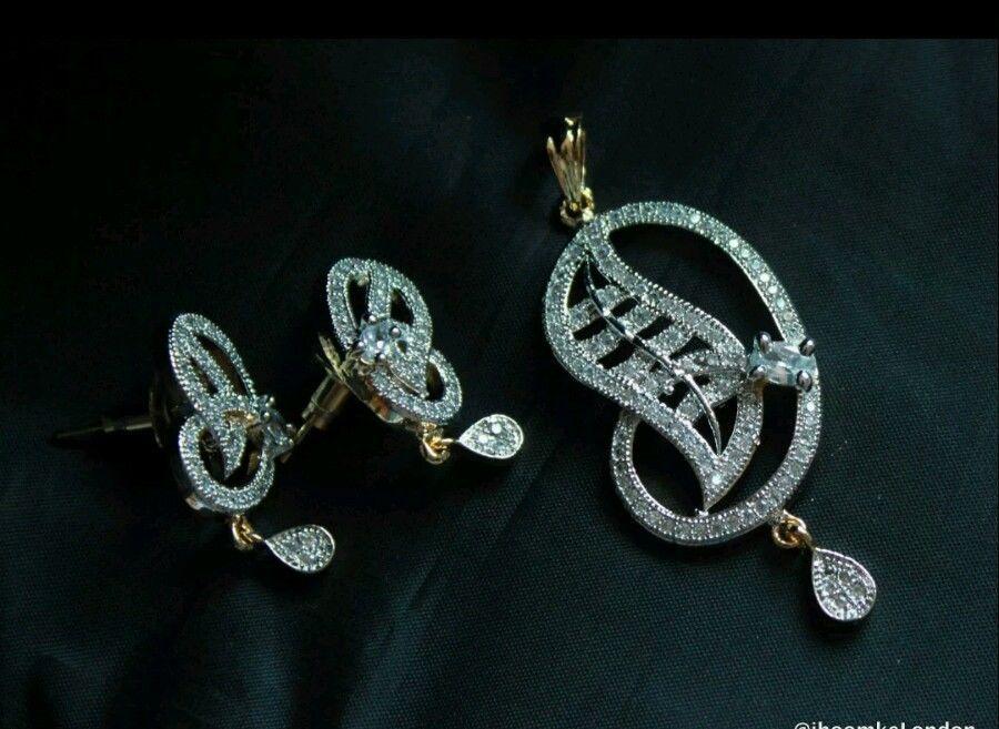 Bollywood pendant set Partywear Indian Golden american diamond