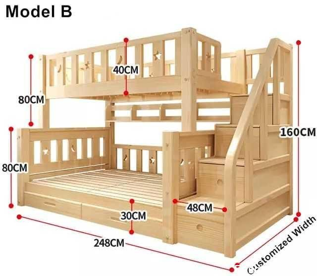 Louis Fashion Kids Bunk Bed Real Pine Wood With Ladder Stairs
