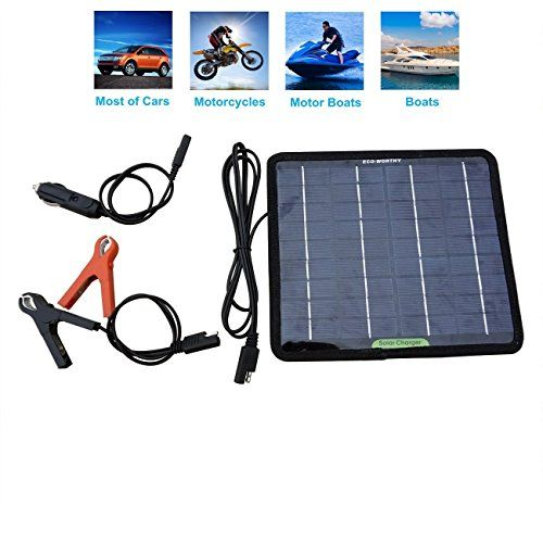 Ecoworthy 12 Volts 5 Watts Portable Power Solar Panel Battery Charger Backup For Car Boat Batteries With Images Solar Battery Charger Boat Battery Solar Battery