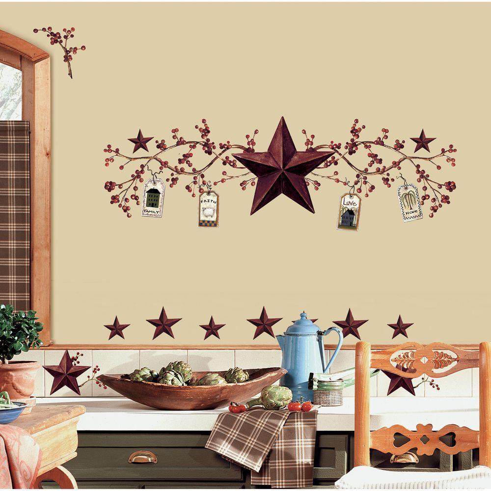 RoomMates 18 in. x 40 in. Country Stars and Berries 40-Piece Peel ...
