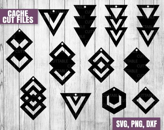 Photo of Geometric earring SVG cut files, Drop Earring cut files, cricut, silhouette leather jewelry making, 12 triangle geometric SVG with hole