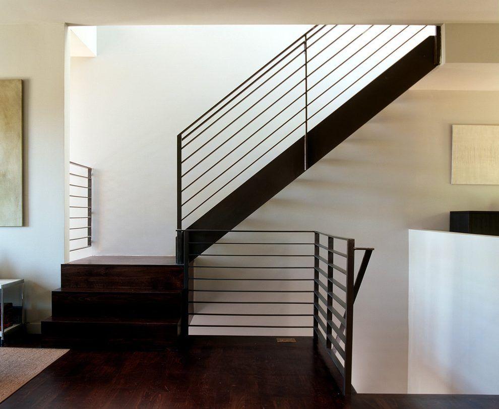Image Result For Wood Handrail On Flat Bar Railing Metal Stair | Modern Metal Railings Interior | Modern Style | Horizontal | Wood | Simple | Custom