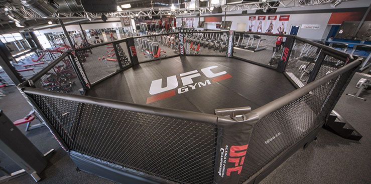 Ufc Gym Provides A Large Boxing Ring For The Boxing Practice The Floor Of The Platform Is Made Of Suitable Appro Ufc Training Boxing Gym Martial Arts Workout